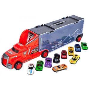 344-Autószállító kamion piros színben