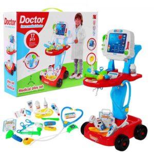 371-Játék orvosi kocsi EKG és egyéb kiegészítőkkel